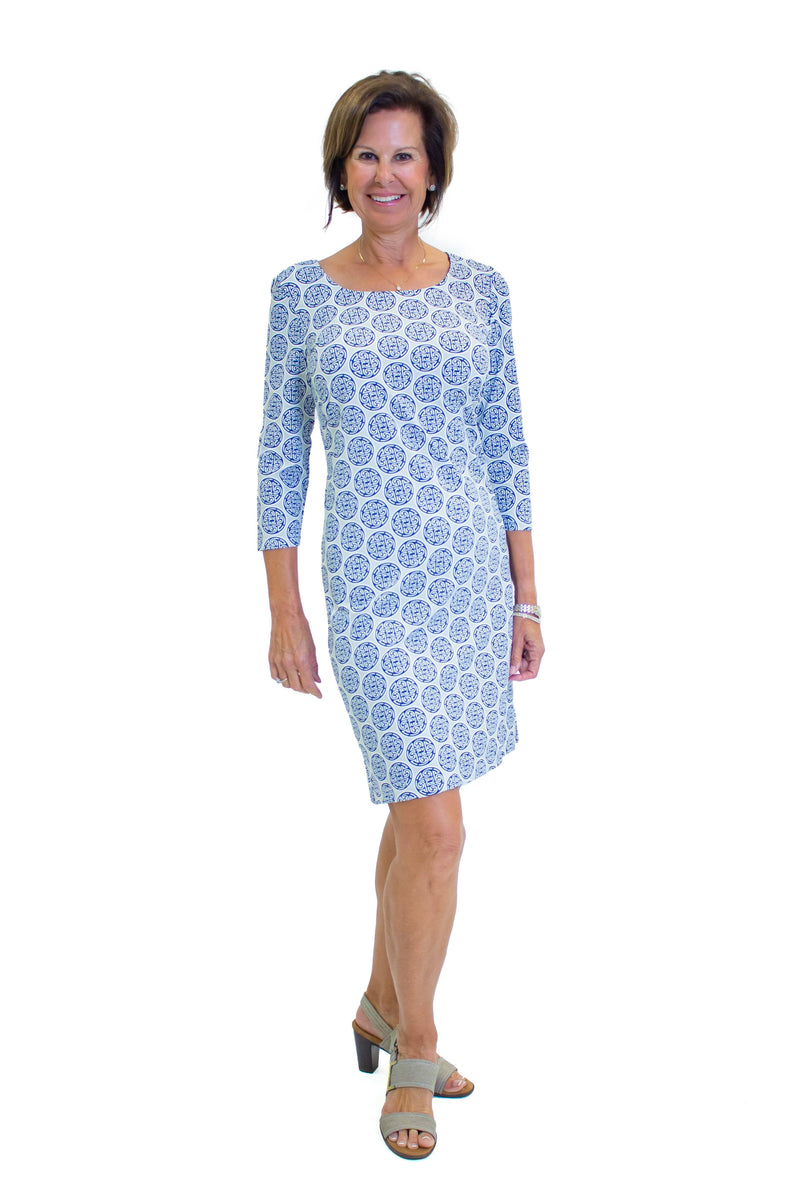 St. Simons Dress Medallion Navy Grey DRESSES Katherine Way Collections