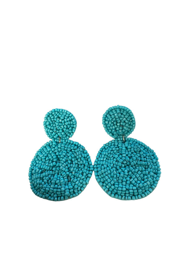 TURQUOISE DOUBLE CIRCLE BEAD EARRINGS JEWELRY GOLDEN STELLA