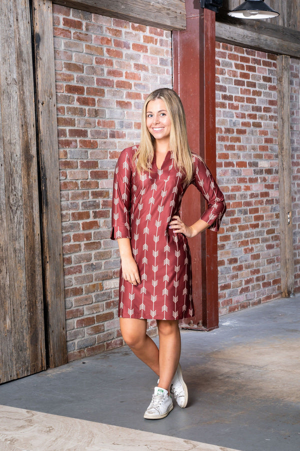 Vero Dress Arrows Garnet Gold DRESSES Katherine Way Collections