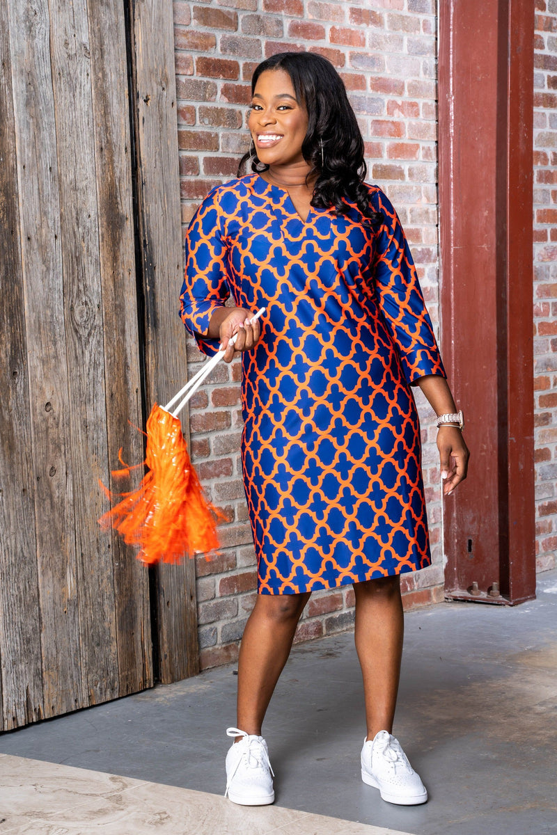 Vero Dress Bold Trellis Blue Orange DRESSES Katherine Way Collections