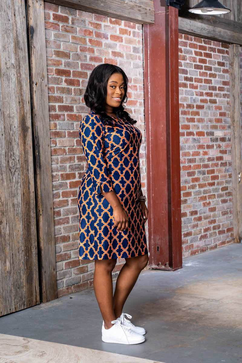 Vero Dress Bold Trellis Navy Orange DRESSES Katherine Way Collections