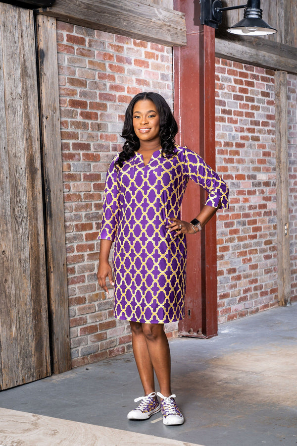 Vero Dress Bold Trellis Purple Gold DRESSES Katherine Way Collections