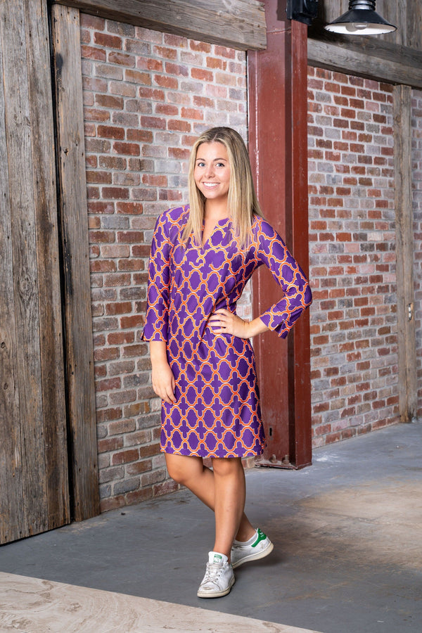Vero Dress Bold Trellis Purple Orange DRESSES Katherine Way Collections