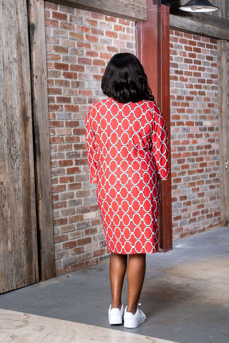 Vero Dress Bold Trellis Red Black DRESSES Katherine Way Collections