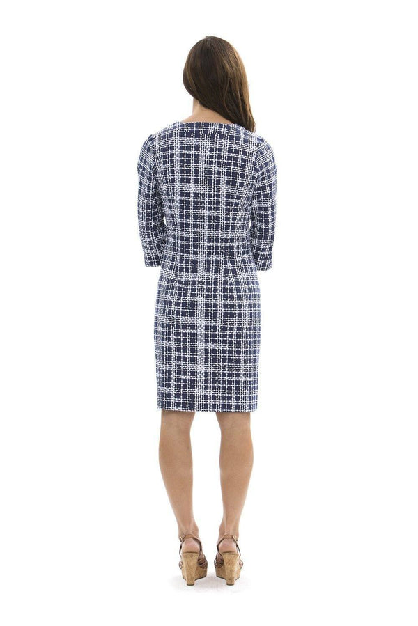 Vero Dress Plaid Dots Navy DRESSES Katherine Way Collections