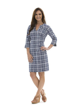 Vero Dress Plaid Dots Navy DRESSES Katherine Way Collections Plaid Dots Navy XS