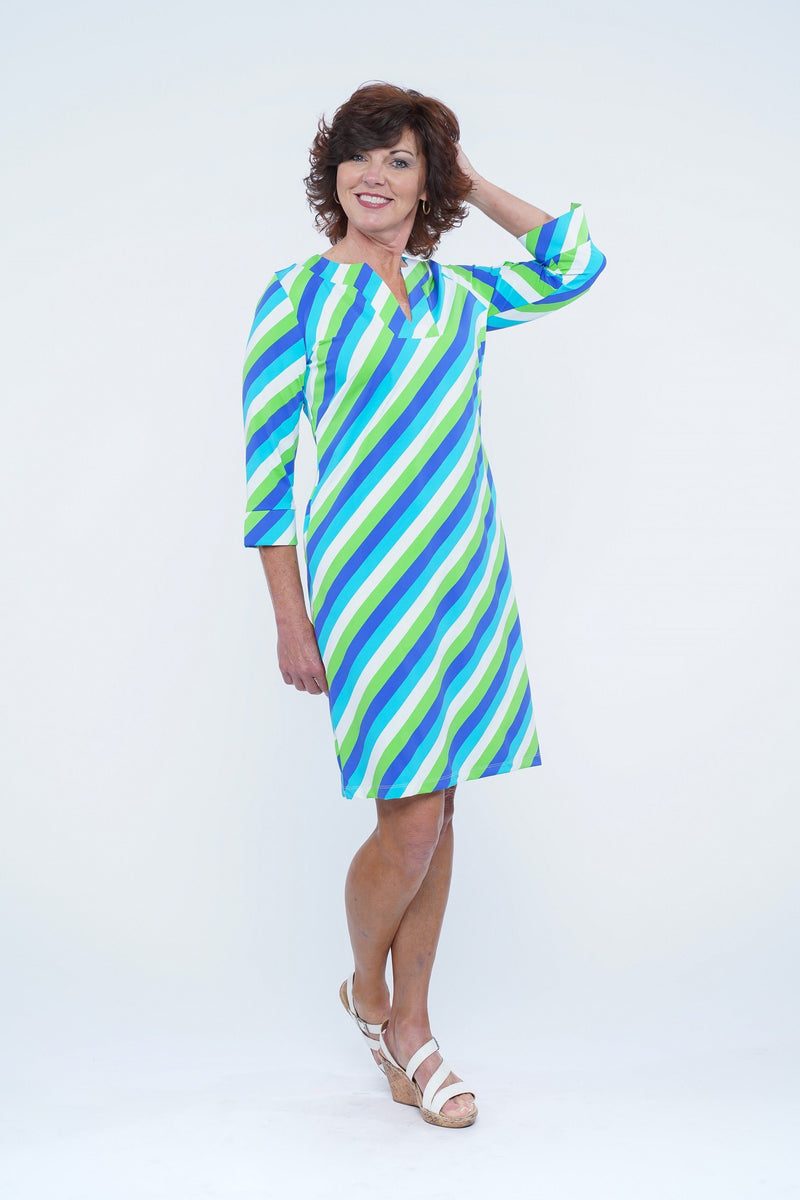 Vero Dress Vertical Stripes Royal DRESSES Katherine Way Collections