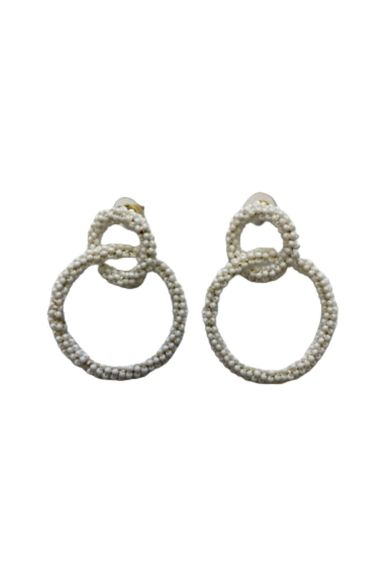 WHITE BEAD CIRCLE LINK EARRINGS JEWELRY GOLDEN STELLA
