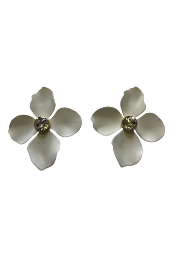 WHITE FLOWER EARRINGS JEWELRY GOLDEN STELLA