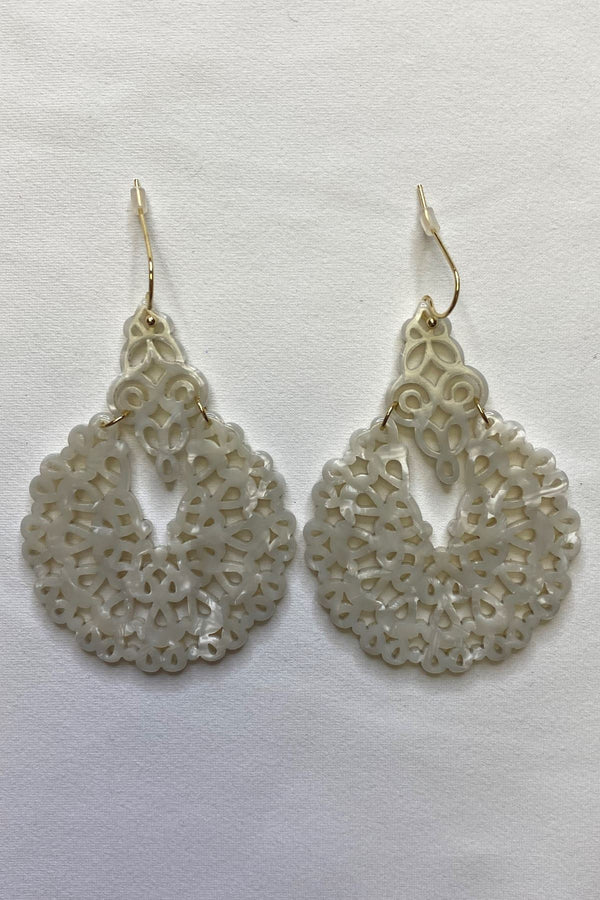 WHITE GOLD CIRCLE DANGLE EARRINGS JEWELRY GOLDEN STELLA