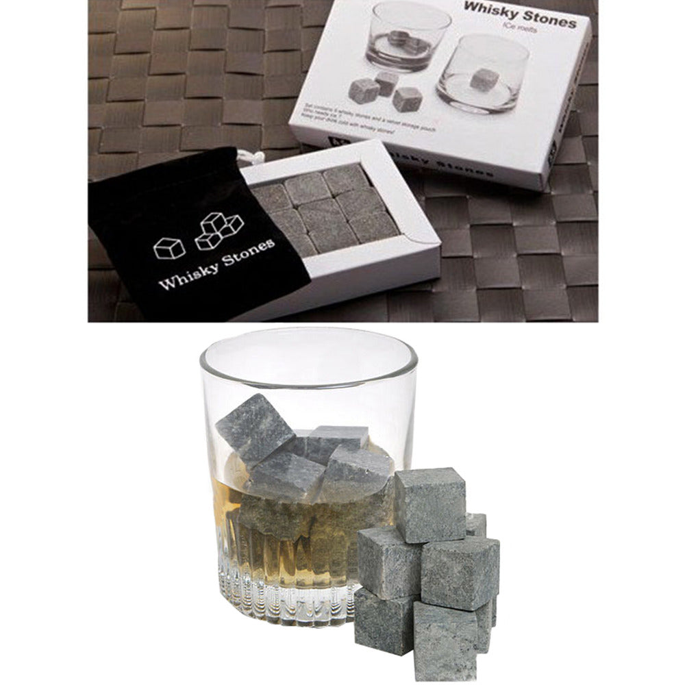 9pc Natural Whiskey Stones with Case