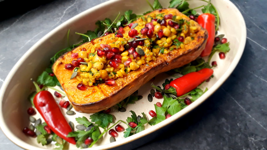 Stuffed Butternut Squash with Moroccan Spiced Barley & Chickpeas
