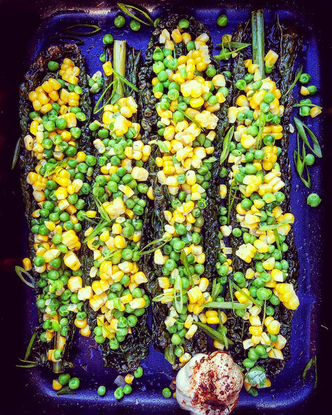 Corn with Green Peas, Roasted Kale & Garlic Butter