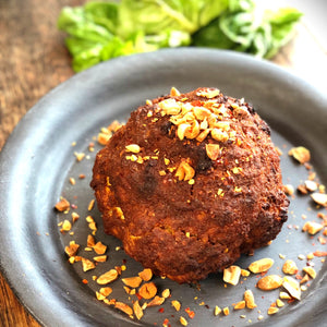 Whole Roasted Cauliflower with Spiced Peanut Butter (Suya)