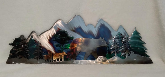 Mama Bear and Cubs in Snowy Mountains 2D Art Piece