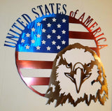 United States of America Round Flag with Eagle