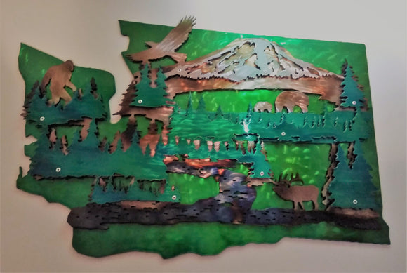 Washington 2D Mountain Scene Art Piece