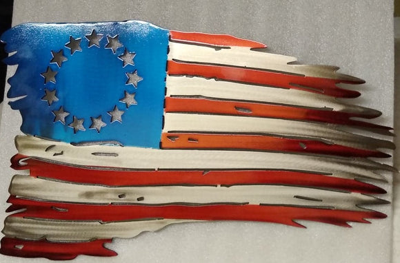 United States of America Betsy Ross Tattered Flag