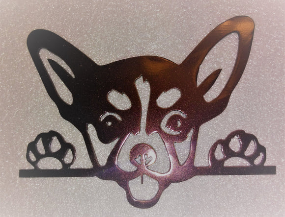 Chihuahua face and paws metal art