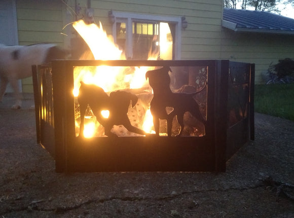 Boxer & Bully Dog Love 6 panel Fire Pit