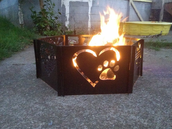 Heart & Paw Print Fire Pit Single Panel