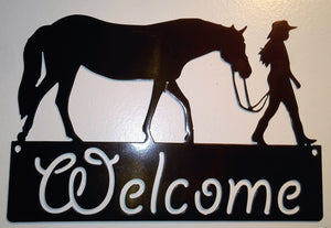 Girl and Her Horse Welcome Sign
