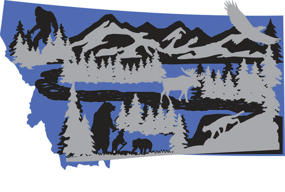 Montana Mountain Scene 3D Art Piece