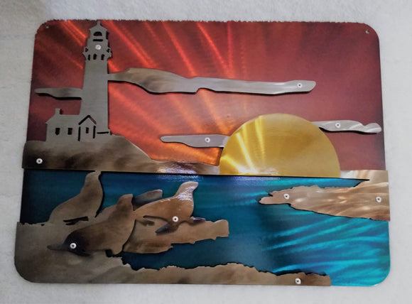 Lighthouse Sunset Seascape with Seals 3D Art Piece