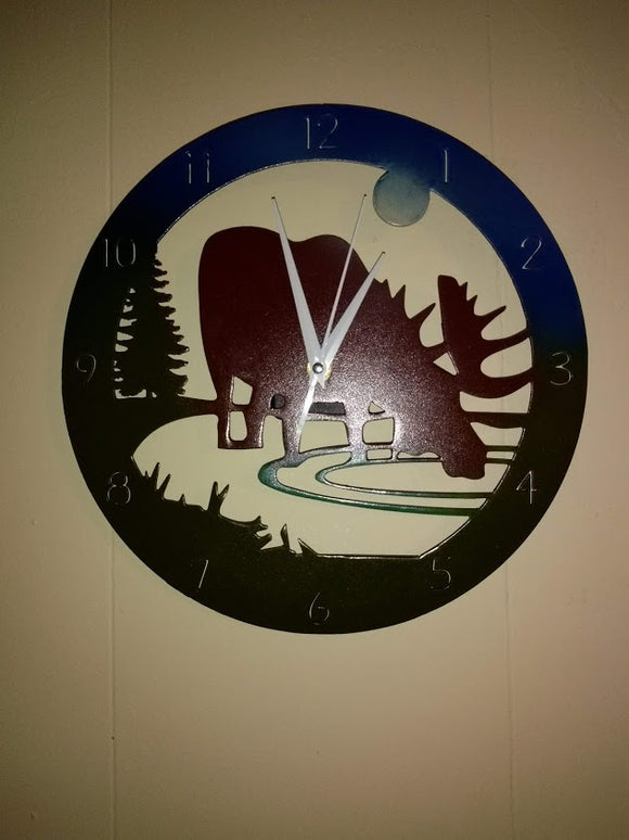 Moose Drinking from Pond Clock