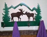 Moose Kissing Coat or Towel Rack