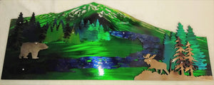 Mountain with River, Bear & Moose 3D Art Piece