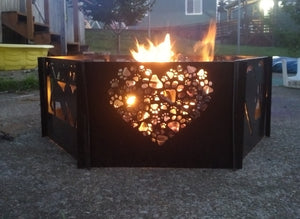 Paw Prints in a Heart Fire Pit Single Panel