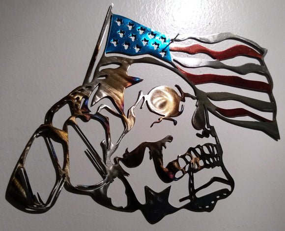 Skull with USA Flag and Military Tags