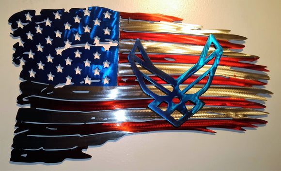 United States of America Tattered Flag with Air Force Emblem