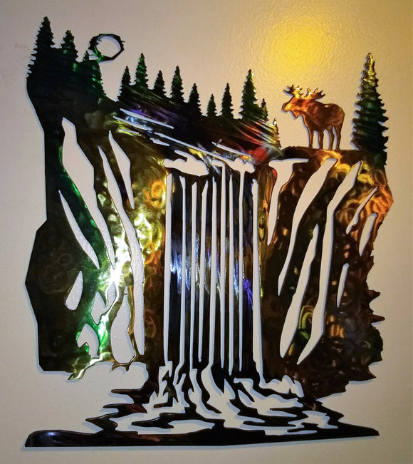 Waterfall Scene with a Moose