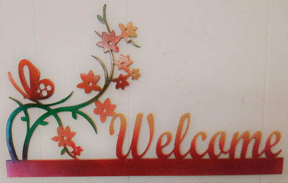 Butterfly & Flowers Welcome sign