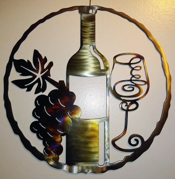 Wine Bottle, Glass & Grapes artwork