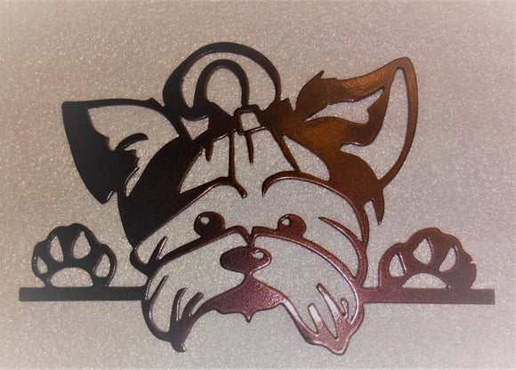 Yorkie - Westie Dog face and paws metal art