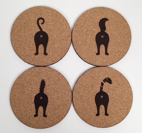 Cat - Cork Coasters - Cat Butts