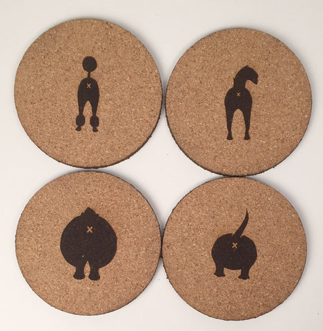 Dog Butt Cork Coasters