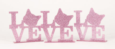 Cat Love Sign - pink glitter