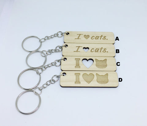 """I Love Cats"" Keychains"