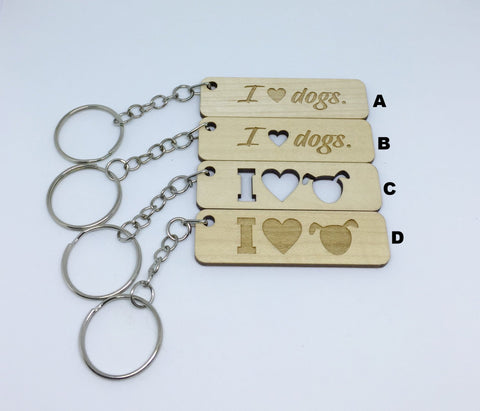 Dog - Keychains - I Love Dogs