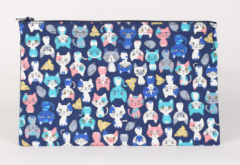 Cat - Pencil Cases - Navy Cats Sitting Pretty