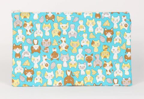 Cat - Pencil Cases - Turquoise Cats Sitting Pretty