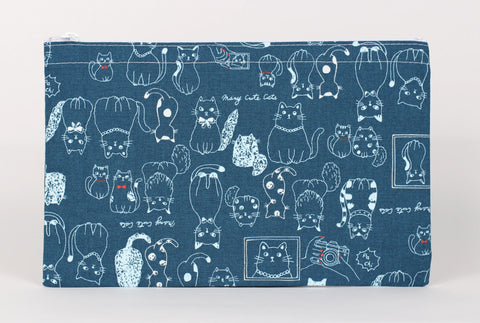 Cat - Pencil Cases - Indigo Cats with Bow Ties