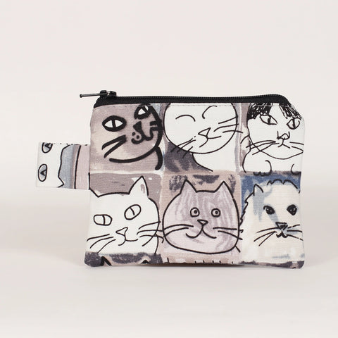 Cat - Coin Purses - Grey Sketchy