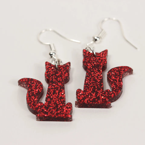 Cat Glitter Earrings