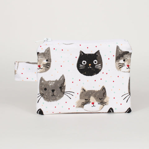 Cat - Coin Purses - White with Cat Heads