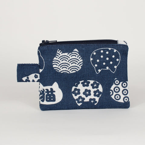 Cat - Coin Purses - Navy with Cat Heads